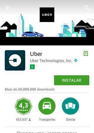 """Na tela de apresentação do Uber, clique em """"Instalar"""""""